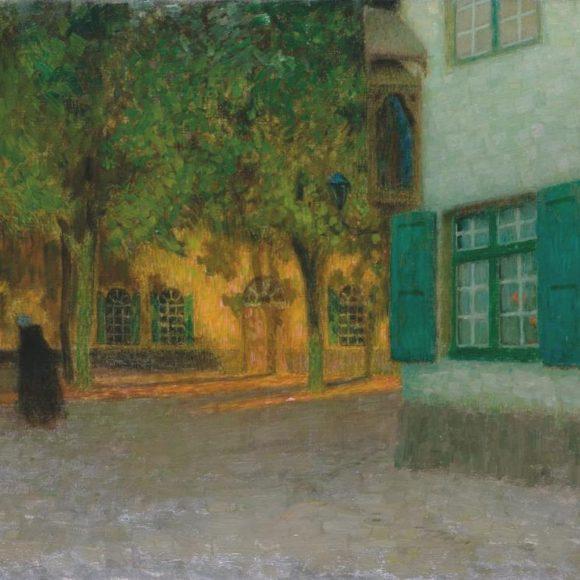 Béguinage, maisons à contre-jour, Bruges, 1899