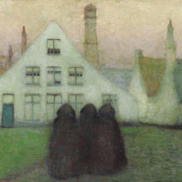 Béguinage avec vieilles femmes, Bruges, 1899