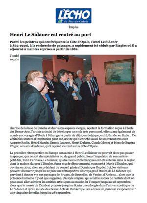 L'Écho du Pas-de-Calais. Henri Le Sidaner est rentré au port visuel