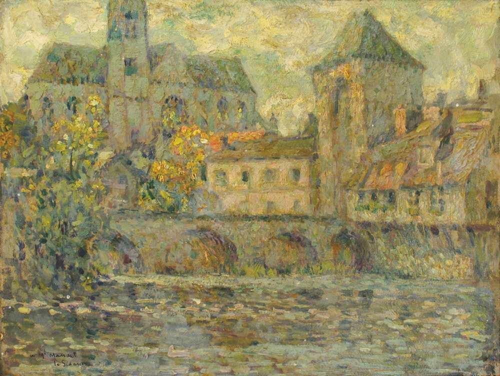 L'Église et le pont, Moret, 1917