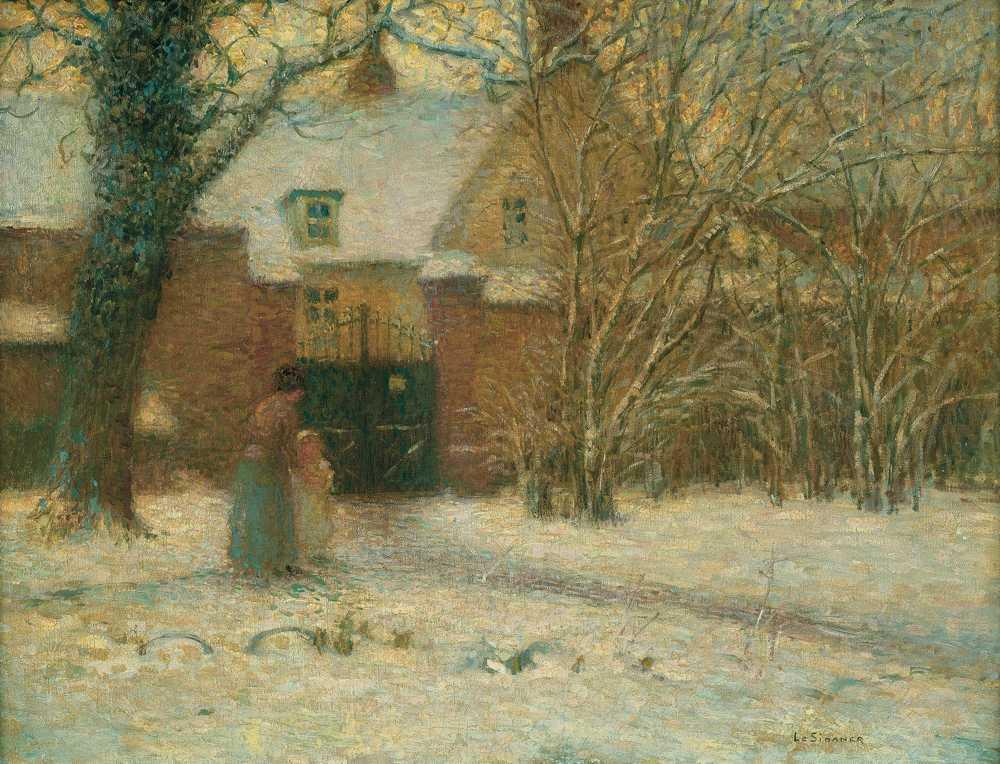 Maison, neige, Herchies, 1901