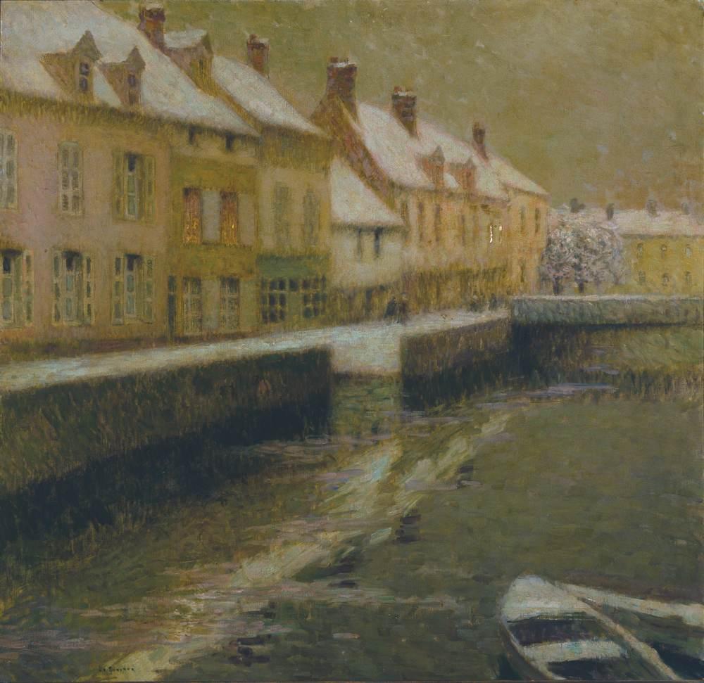 Maisons sur la rivière, neige, Gisors-Beauvais, 1904